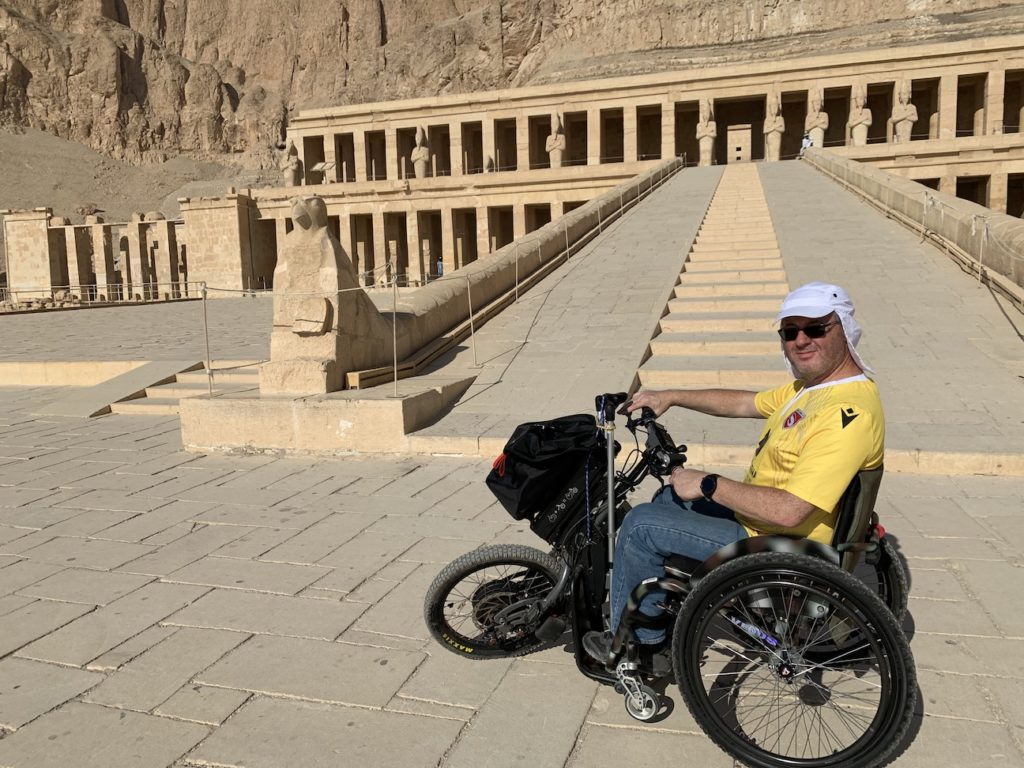 Sat in my wheelchair at the steps to Hatshepsut Temple