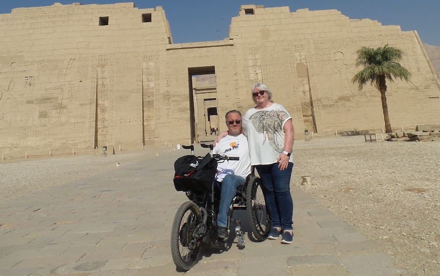 My wife and I at the Temple of Medinet Habu